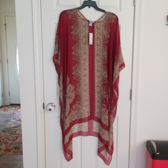 Catherines Tops - Catherine's sheer one size poncho tan & burgundy